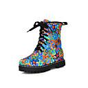 Women's Round Closed Toe Low-top Low-Heels Assorted Color Denim Boots