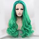 シルビア合成レースフロントかつら緑髪オンブルヘア耐熱長い自然の波の合成かつら