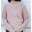 Dámské Jednoduché Běžné/Denní Standardní Rolák Jednobarevné,Růžová Dlouhý rukáv Kulatý Akryl Zima Střední Lehce elastické