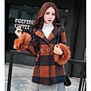 女性 カジュアル/普段着 冬 チェック コート,シンプル ブラウン アクリル 長袖 厚手
