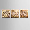 platno Set Cvjetni / Botanički Europska Style,Tri plohe Platno Kvadrat Ispis Art Zid dekor For Početna Dekoracija