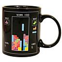 レトロな80年代のビデオゲームマグカップテトリス熱変色コーヒーカップセラミック(3.2x.2x3.8インチ)