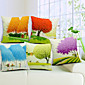 Set of 5 Multi-colored Trees Cotton/Linen Decorative Pillow Cover