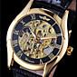 WINNER Pánské Náramkové hodinky mechanické hodinky Automatické natahování S dutým gravírováním Kůže Kapela Černá Zlatá
