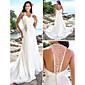 LAN TING BRIDE Pouzdrové Svatební šaty - Elegantní & moderní Elegantní & luxusní Open Back Extra dlouhá vlečka Do V Šifón sKorálky