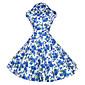 Žene Vintage Izlasci / Vjenčanje A kroj / Skater kroj Haljina,Cvjetni print Kratkih rukava Kragna košulje Do koljena Plava / Crvena Pamuk
