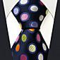 メンズ ヴィンテージ キュート パーティー オフィス カジュアル ネクタイ,シルク 水玉,オールシーズン ブルー