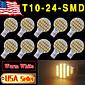 10 x bianco caldo cuneo t10 rv paesaggistico 24-SMD ha condotto la luce delle lampadine W5W 921 168 194