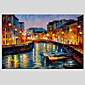 Ručno oslikana Apstraktni pejsaži Horizontalno,Moderna Europska Style Jedna ploha Hang oslikana uljanim bojama For Početna Dekoracija