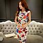 Ženski Haljina Ulični šik Korice Cvjetni print,Iznad koljena Asimetričan Poliester