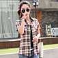 Majica Ženski,Jednostavno Ležerno/za svaki dan Color block-Kratkih rukava Kragna košulje-Ljeto Crvena / Smeđa Tanko Pamuk