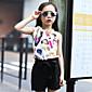 Djevojka je Ljeto Ležerno/za svaki dan-Cvjetni print-Pamuk-Ljeto-Crna / Bijela / Bež