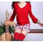 Žene Jednostavno Ležerno/za svaki dan Regularna Pullover,Crvena / Crna / Smeđa / Siva Jednobojni V izrez Dugih rukava Pamuk / Poliester