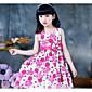 Dívka je Umělé hedvábí Běžné/Denní Společenské Jednobarevné Květinový Tisk Léto Šaty,Krátký rukáv