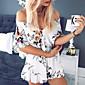 Dámské Sexy Klub Dovolená Party/Koktejl Volné Šaty Květinový,Krátký rukáv Úzký výstřih Nad kolena Bavlna Léto Mid Rise Lehce elastické