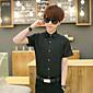 メンズ カジュアル/普段着 シャツ,シンプル スタンド ソリッド コットン リネン 半袖 薄手